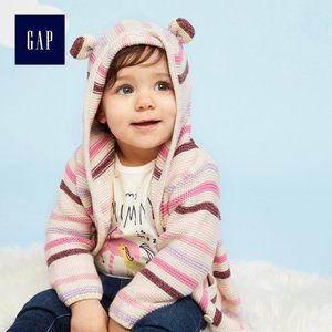 GAP Kids Bear Ear Striped Knit Hooded Jacket